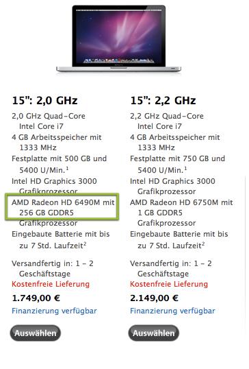 """Mac Book Pro 2011: üppige Speicherausstattung beim 15""""er Modell?"""