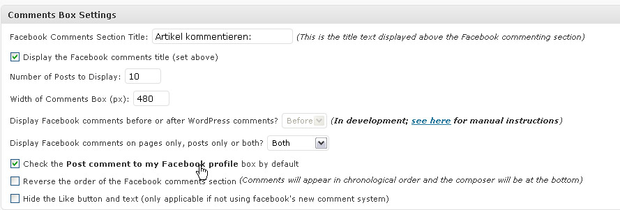 Facebook Comments in WordPress: Comments Box Settings