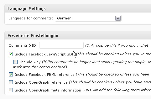 Facebook Comments in WordPress: Sprache und erweiterte Einstellungen
