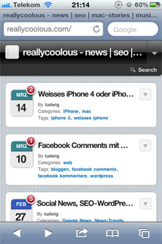 Wordpress-Theme für das iPhone: WP Touch