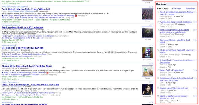 Google News (US): Most Shared Articles