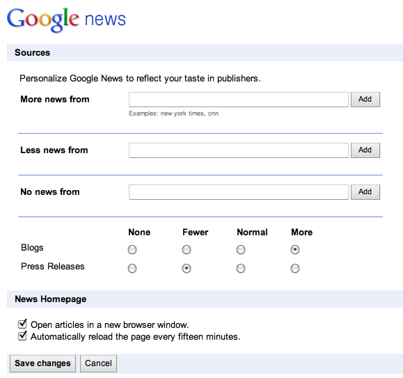 Google News: mehr Personalisierungs-Möglichkeiten
