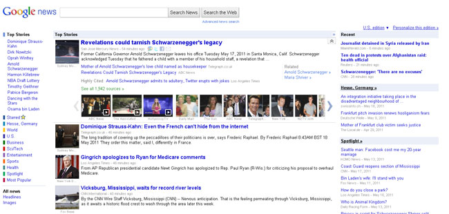 Google News in US: Standard-Ansicht