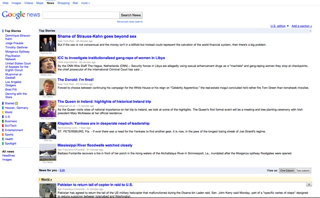 Google News in US: neues Layout