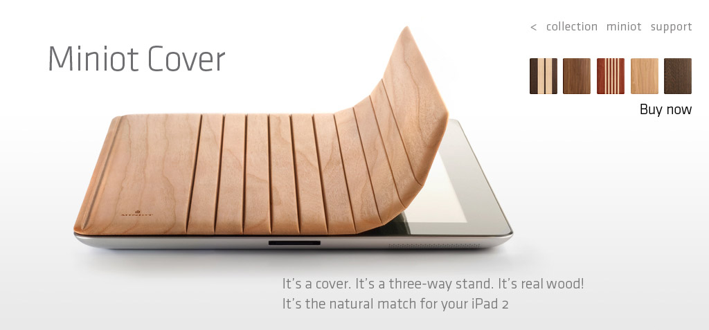 iPad Abdeckung aus Holz von Miniot aus Holland
