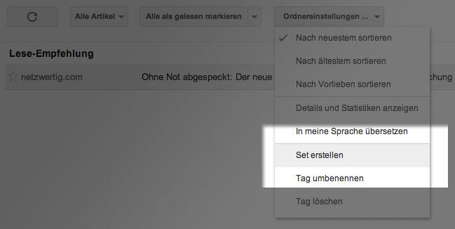 Google Reader Set erstellen Google Reader: Artikel Tipps sharen und anderen Nutzern folgen