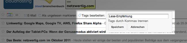 Google Reader: zu sharenden Artikel taggen