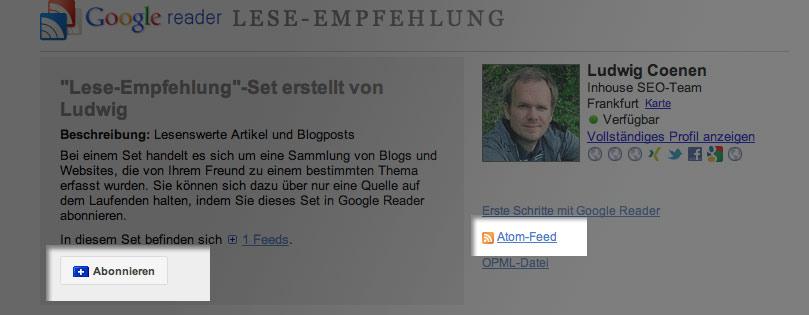 Endlich: die neue Seite für Lese-Empfehlungen im Google Reader
