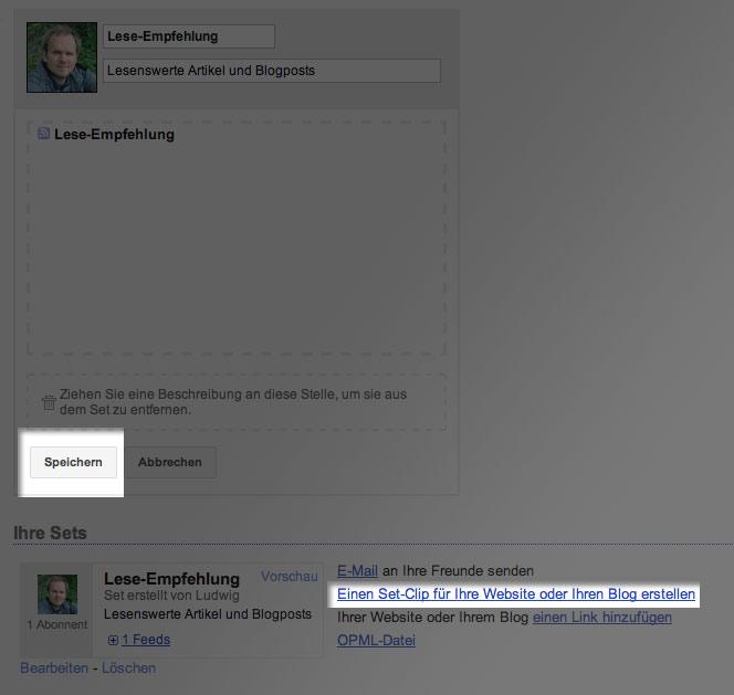 Set speichern und bearbeiten Google Reader: Artikel Tipps sharen und anderen Nutzern folgen
